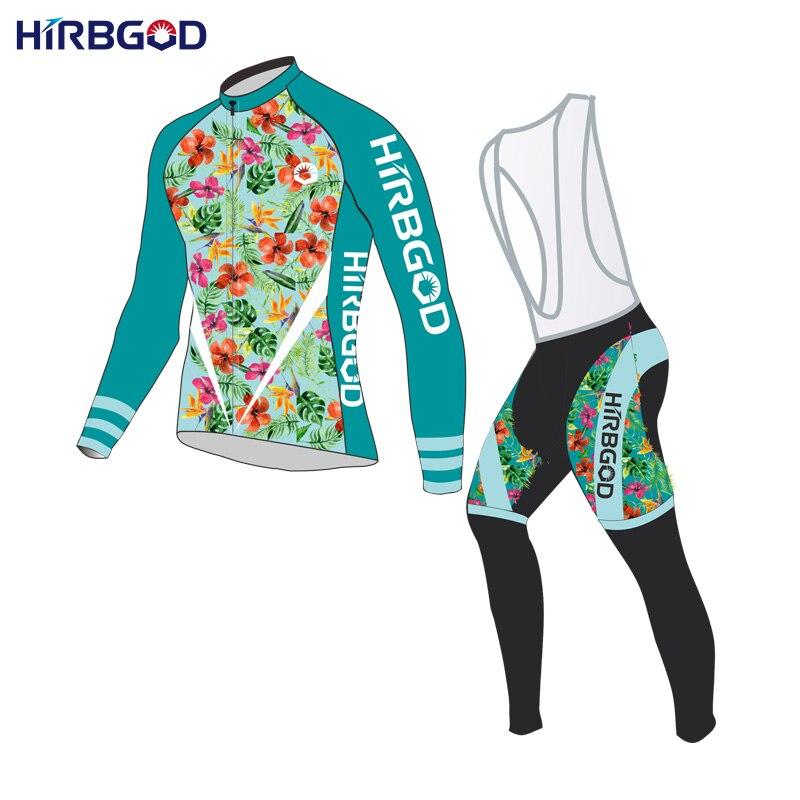 ФОТО HIRBGOD brand new design mens womens flower bike cycling sets long sleeve spring cycle shirt top kit,RW019