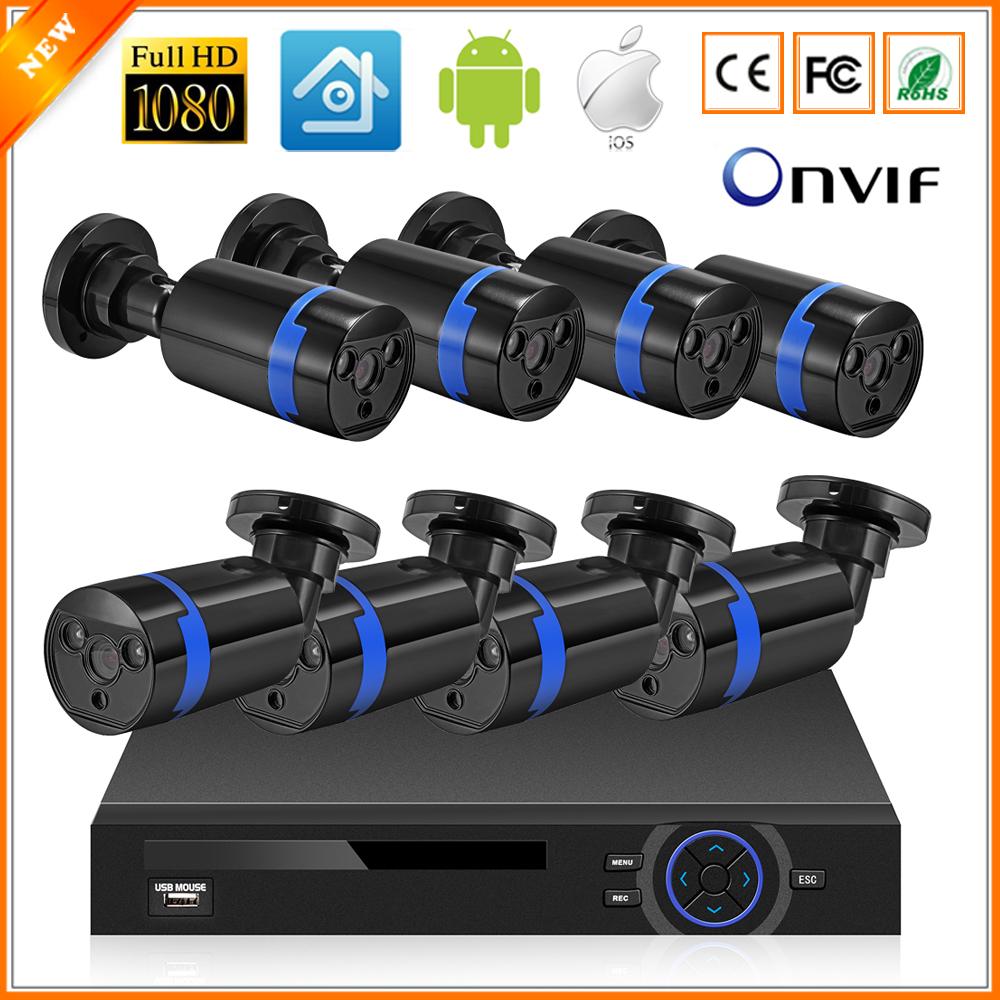 bilder für IEEE802.3af 48 V 8 Kanal PoE Kit Surveillance System PoE Kamera 1080 P CCTV System 8 STÜCKE 1080 P PoE IP Kamera + 1 STÜCKE 8CH PoE NVR