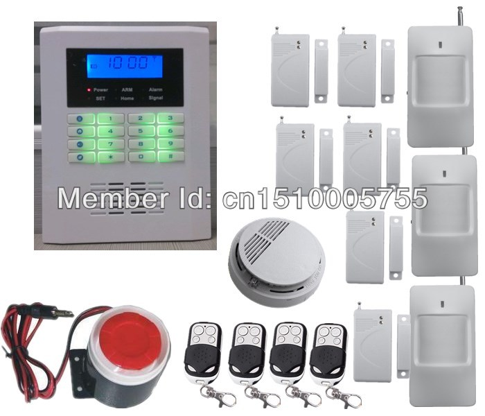 Low price DIY smart wireless home security PSTN+ GSM alarm system,kit  PIR detector+ door sensor + smoke sensor,fire alarm 433mhz dual network gsm pstn sms house burglar security alarm system fire smoke detector door window sensor kit remote control