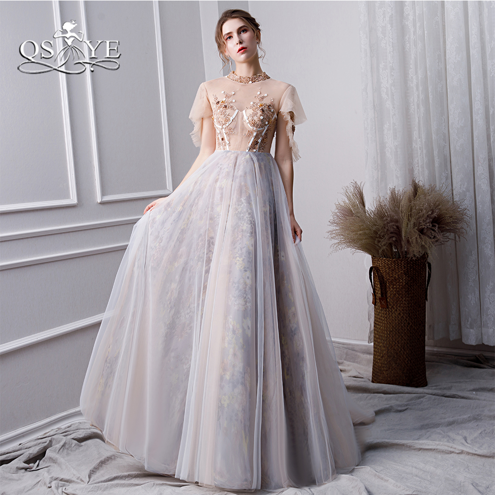 QSYYE 2019 New Long Prom Dresses Robe de Soiree Beaded O-Neck Lace Beaded Tulle Floor Length Women Evening Party Gown