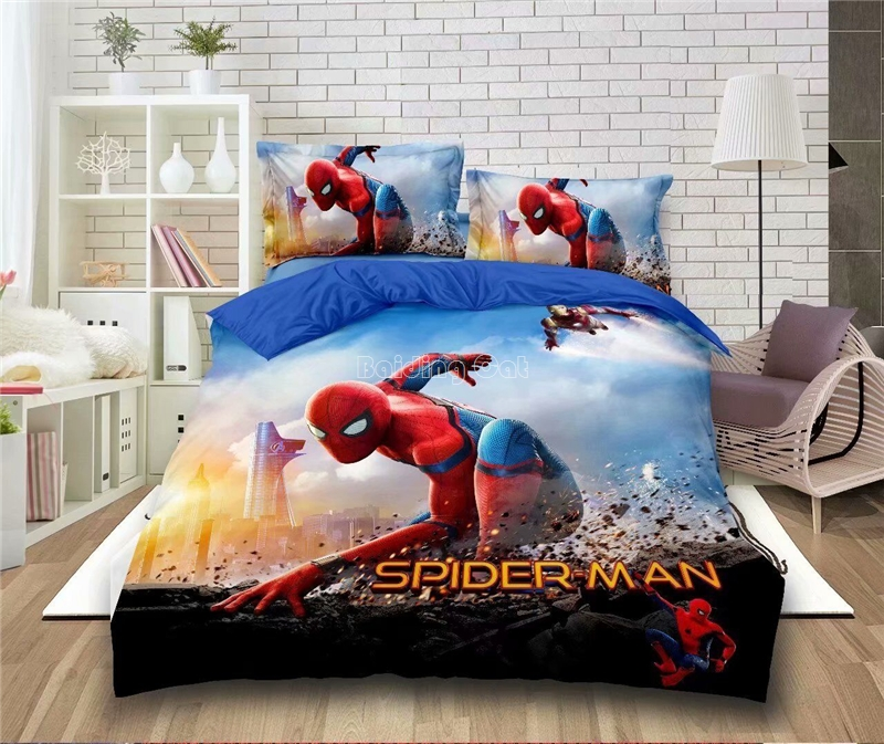 Cartoon Spiderman Bedding Set Boy&Girls The Avengers Duvet Cover Set Princess Bed Linen Batman Bedclothes Student Dormitory Beds(China)