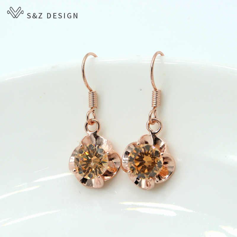 S&Z Four-leaf Clover Zircon Earrings 585 Rose Gold Korean Simple Earhook Personality Hipster Pendant Fine Cute Jewelry