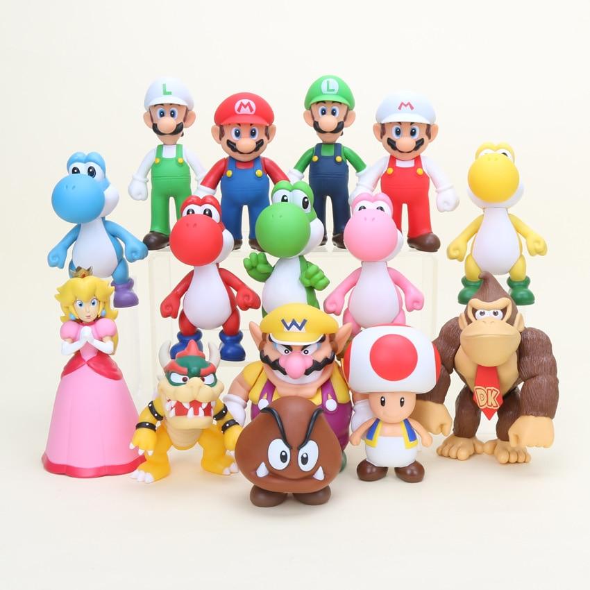 Oyuncaklar ve Hobi Ürünleri'ten Aksiyon ve Oyuncak Figürleri'de 8 15 cm 15 adet/grup Süper Mario Bros Princeess Bowser Koopa Yoshi Luigi Donkey Kong PVC Şekil Oyuncak modeli bebek'da  Grup 1