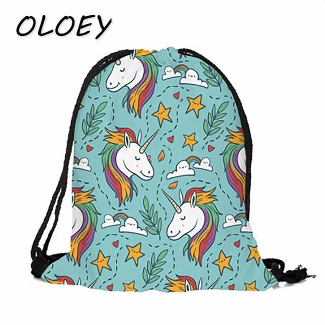 Bonito Unicórnio 3D Impressão Cordão Mochila Backbag Mulheres Animal Dos Desenhos Animados Adolescentes Crianças Student School Book Bag Pacote de Telefone #
