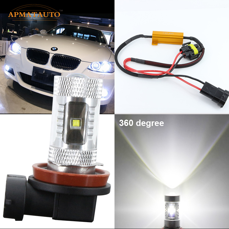 2 x  Super Birght H11 H8  NO ERROR for CREE Chips Projector LED Fog Lamp   Daytime Running Light  Bulb For  BMW E90 325 328 335i h11 h8 led projector fog light drl no error for bmw e71 x6 m e70 x5 e83 f25 x3 2004 for e53 x5 2003 2006 e90 325 328 335i