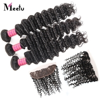 Meetu Indian Human Hair Bundles With Lace Frontal Non Remy Deep Curly 3 Bundles With Closure With Baby Hair Natural Closure
