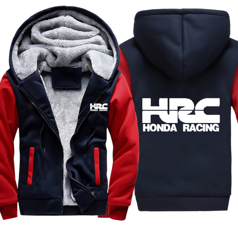 Hoodies Men HRC Race Motorcycle Car Logo Print Jacket Thicken Hoodie Mens Winter Warm Fleece Cotton Zipper Raglan Coat Jacket