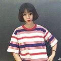2017 versão Coreana da onda de estudantes solto bf ulzzang compassivo listrado curto-de mangas compridas t-shirt das mulheres