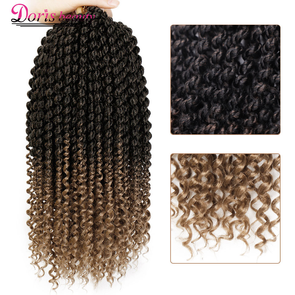 14 Inch Marley Braids Ombre Hair Crochet Braid Synthetic Braiding Hair Extensions Braids Curly Crochet Hair Women Locs Twist