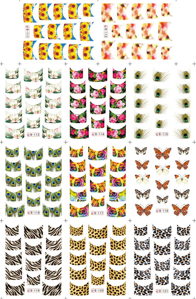 11 Sheets 11 Styles B111 121 Nail Art French Water Transfer Sticker Decals Leopard Print Design
