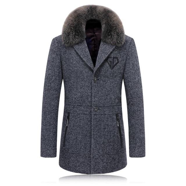 2016 de alta calidad de cuello de piel de zorro de lana trinchera Gabardina solo Pecho Hombres Rompevientos Chaqueta de Los Hombres prendas de Vestir Exteriores Ocasional de Los Hombres