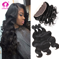 On Sale 8a Grade Malaysian Virgin Unprocessed Straight Human Hair Ear To Ear One Lace Frontal Closure With Three Bundles
