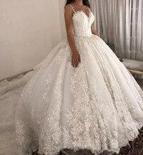 Vestido de baile de luxo vestidos de casamento espaguete cintas rendas applique vestidos de casamento trem varredura 2019 nupcial desse vestido novia