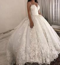 luxury ball gown Wedding Dresses Spaghetti straps Lace Applique Wedding Gowns Sweep Train 2020 Bridal Dresse Vestido De Novia