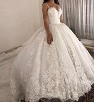luxury ball gown Wedding Dresses Spaghetti straps Lace Applique Wedding Gowns Sweep Train 2019 Bridal Dresse Vestido De Novia