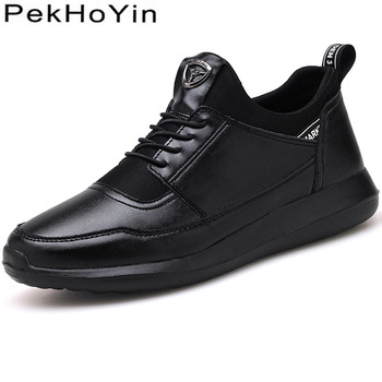 2020 Brand Leather Men Casual Shoes New Fashion Sneakers Light Weight Black Footwear Outdoor Male Walking Shoes Men Autumn Shoes цена 2017