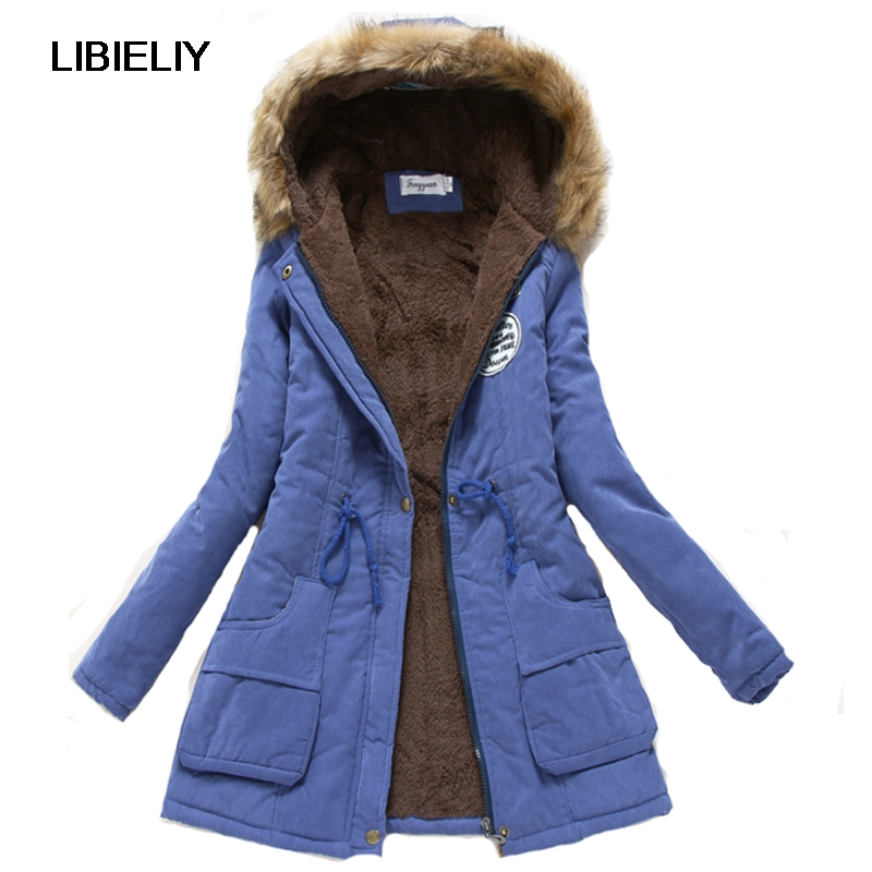 Nice Women Winter Thicken Warm Coat Female Autumn Hooded Cotton Fur Plus Size   Basic     Jacket   Outerwear Slim Long Ladies Chaqueta