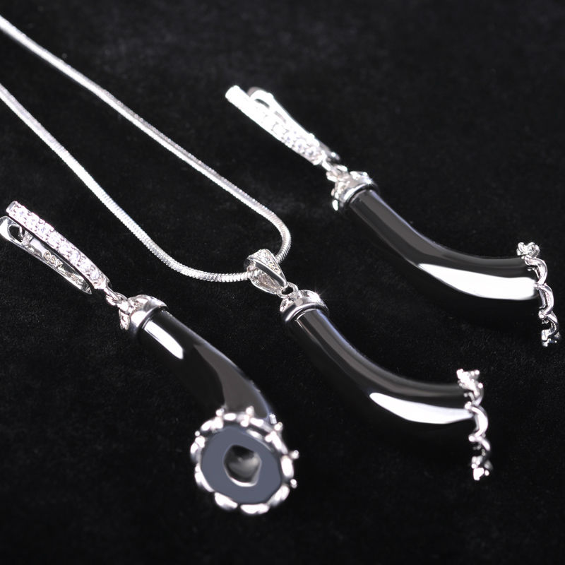 Blucome Cubic Zircon Flower Black Ceramic Jewelry Sets For Women Morning Glory Shape Copper Long pendant Necklace Earrings Set