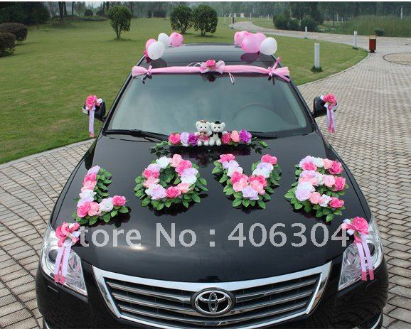 Free Shipping By Ems 1 Set Lot Wedding Car Decoration Pink