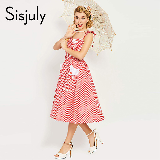 Sisjuly vintage dress 1950s red plaid elegant dress button sleeveless party dresses pocket a line rockabilly vintage dresses new