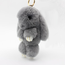 18cm Genuine Rabbit Fur Pom Pom Key Chain For Women Trinket Cute Rabbit Toy Doll Bag Car Key Ring Monster Keychain Jewelry Gift