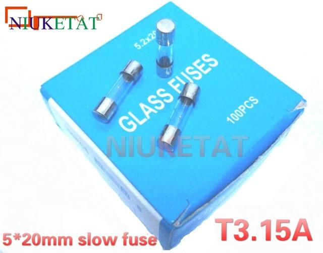 100pcs/box 5*20mm 3.15A 250V slow fuse 5*20 T3.15A 3150mA 250V Glass Fuse 5mm*20mm New and original