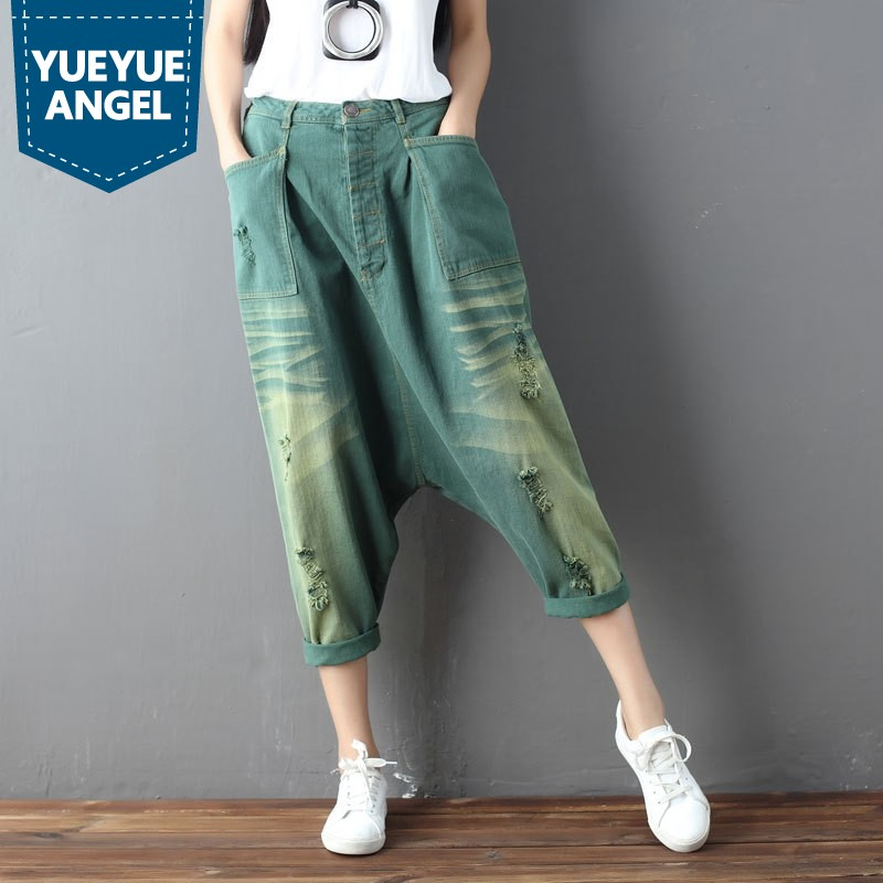2019 Autumn Womens Harem Pants Fashion Loose Fitness Ripped Retro Jeans Drop Crotch Baggy Jeans for Girl Casual Cowgirl Trousers