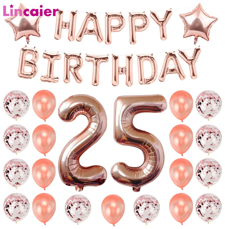 Lincaier Number 25 Balloons Birthday Party Decorations Years Old 25th Supplies Ballon Rose Gold Pink Black Silver