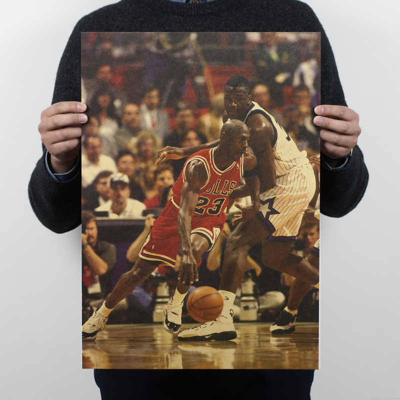 Basketball Vintage Poster Michael Jordan Retro Paper Bulls Home Decor Wall Painting 51x35.5cm