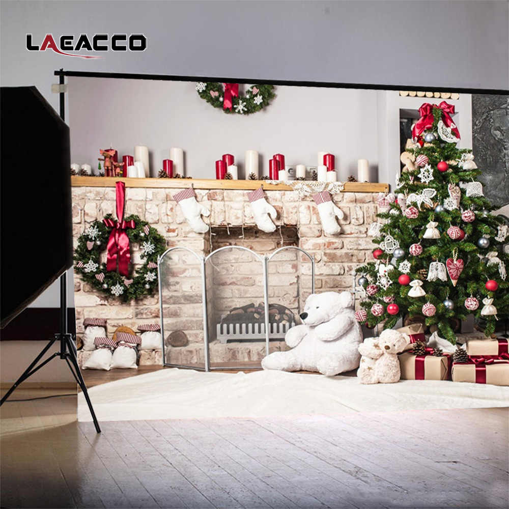 Laeacco Christmas Tree Home Decoration Fireplace Scene Photography  Backgrounds Vinyl New Year Backdrops For Photo Studio Props