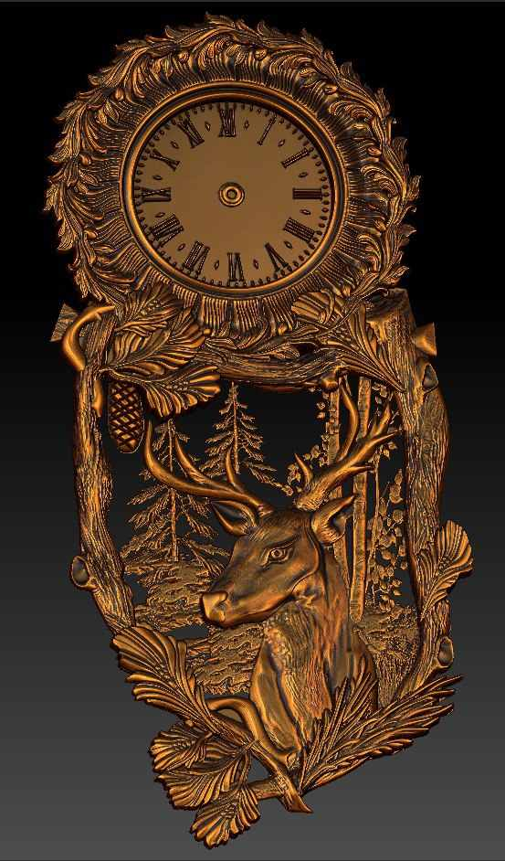 Digital file in STL format clock for CNC 3D relief carving engraving C36-25