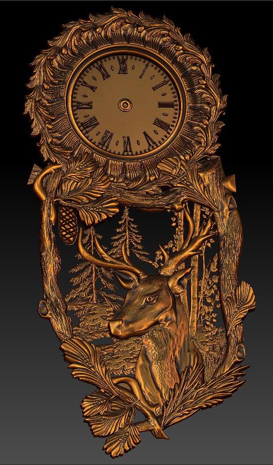 Digital File In STL Format Clock For CNC 3D Relief Carving Engraving C36-25