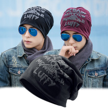 8728eb7effd Fashion Men Women Adult Winter Hip-hop Caps with Skull Letters Printed  Turban Hat Unisex