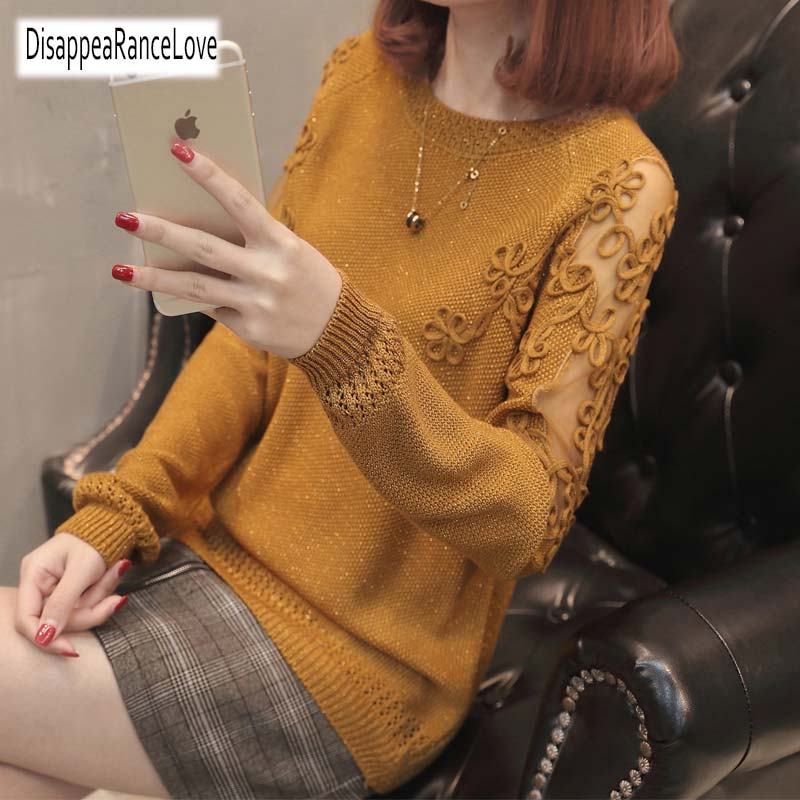 Women Pullovers 2019 Cotton Sexy Lace Pullover Sweaters Fashion Patchwork Hollow Out O-Neck Knitted Tops Pull Femme