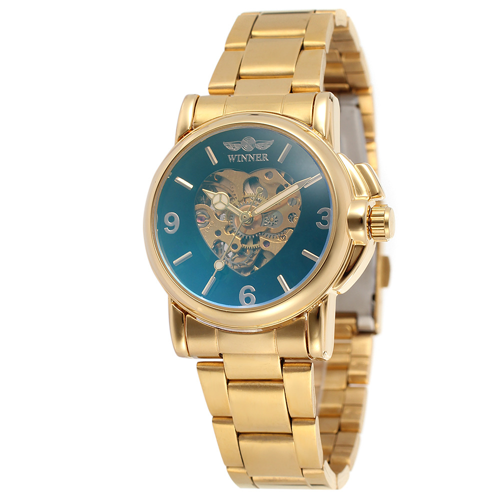 2017 WINNER Gold Watches Women Luxury Brand Automatic Mechanical Watch Steel Wrist Watches Hodinky Relogio Feminino