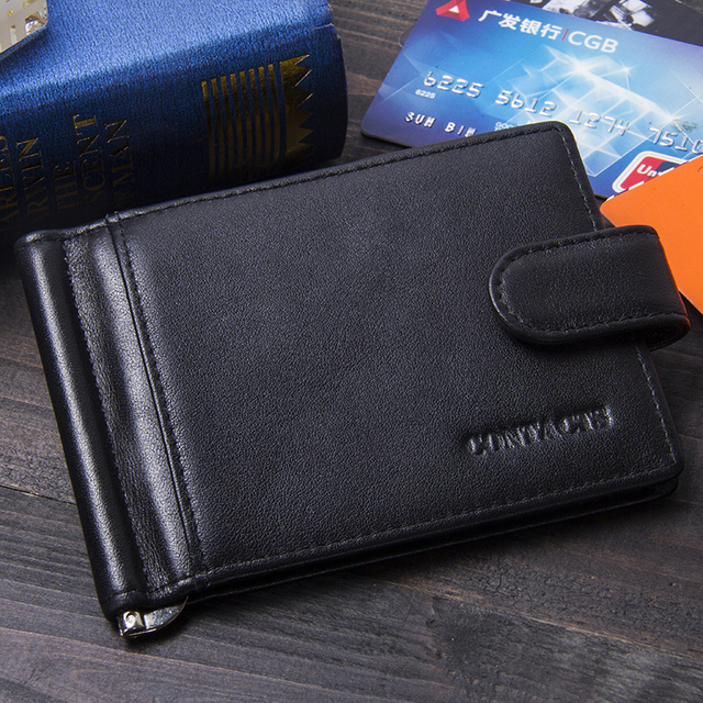 CONTACT'S Fashion Genuine Leather Money Clips High Quality Cow Leather Men Wallets Hasp Mini Purses vintage Men Wallet 4