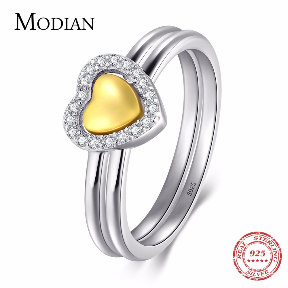 Modian 2018 New White & Gold Color Double Heart Forever Stackable Fashion CZ Finger Ring For Women Wedding Engagement Jewelry