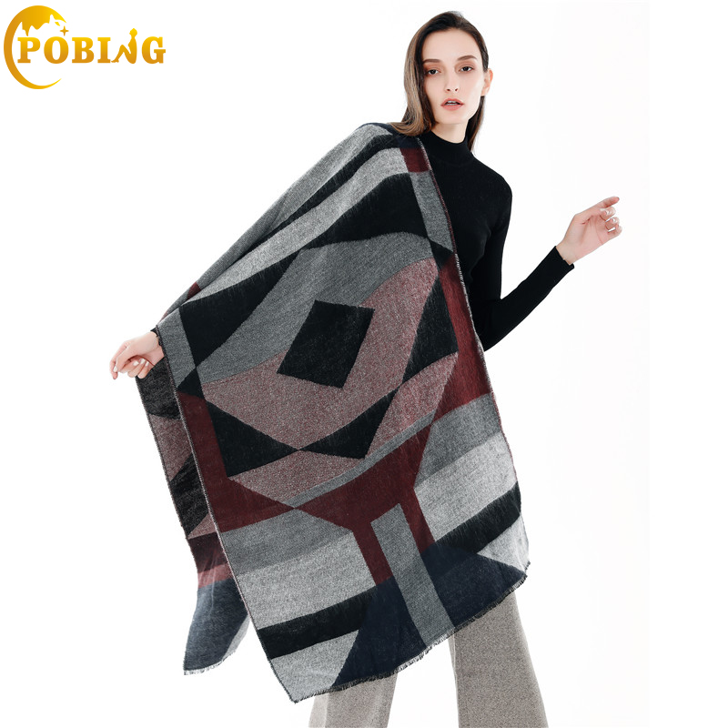 POBING Brand Winter   Scarf   Women Geometric Soft Cashmere   Scarves     Wraps   Basic Acrylic Wram Shawl Female Bufandas Blanket   Scarf