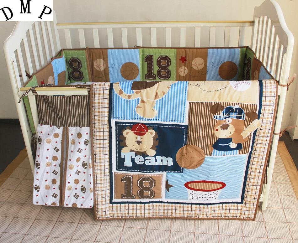 5pcs Embroidery Cot Baby Crib Bedding Set Bed Linen Cartoon Protetor De Berco,(4bumpers+duvet+bed Cover+bed Skirt+diaper Bag)