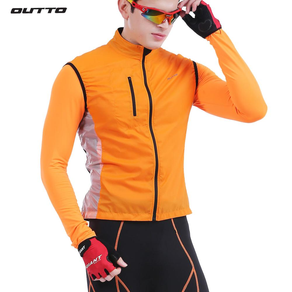 Outto men's sleeveless reflective cycling windbreaker breathable windproof bike gilet