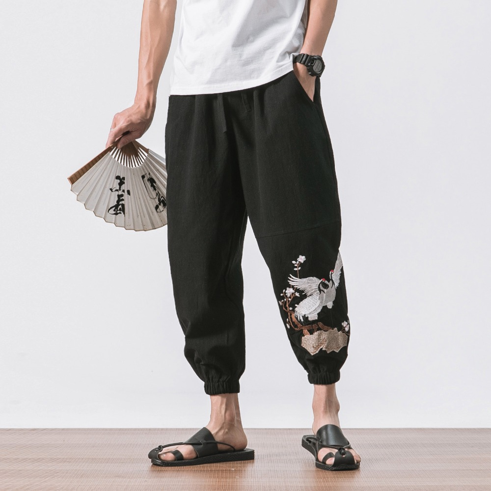 2018 New Chinese Style Male Crane Embroidery Harem Pants Men Calf Length Cotton Linen Bermuda Masculina Male Pants  A032-K53