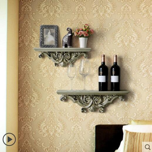 Vintage shelving wall wall partition background wall decoration frame creative resin word wall rack rack in Storage Holders Racks from Home Garden