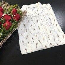 2017SW EQ 100% silk ladies goblet print long sleeve blouses women equipment shirt spring autumn