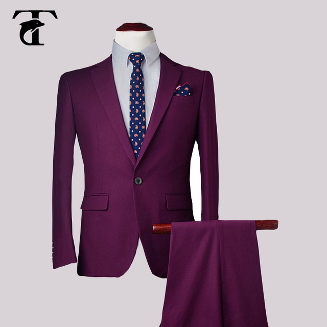 Slim Fit Notch Lapel Solid Color Mens Suit One Button Plus Size Elegant  Wedding Costume Homme 5d4101db349c