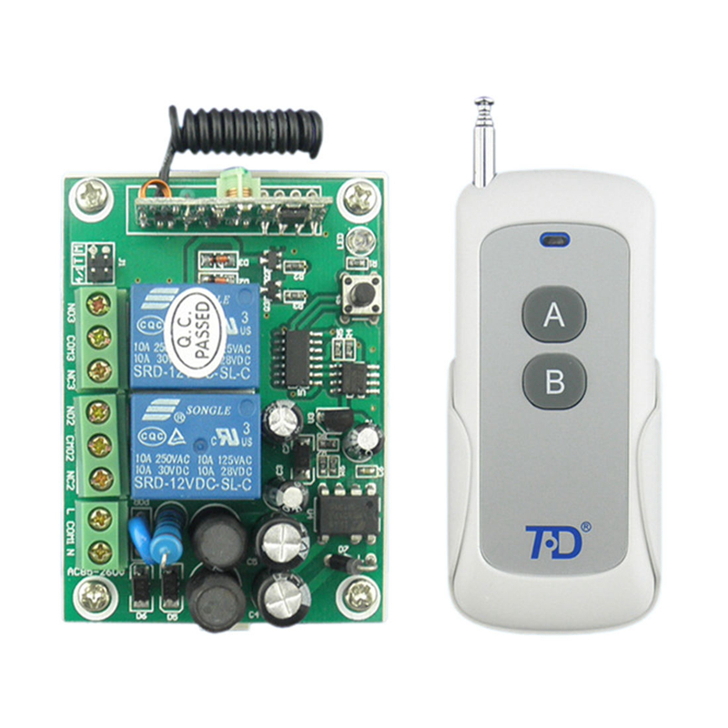 TD TAD-YK30A-2A-1 220V Wireless RF Remote Control Relay Switch Transceiver+Receiver tad yk40a 2a 1 220v wireless rf remote control relay switch transceiver receiver