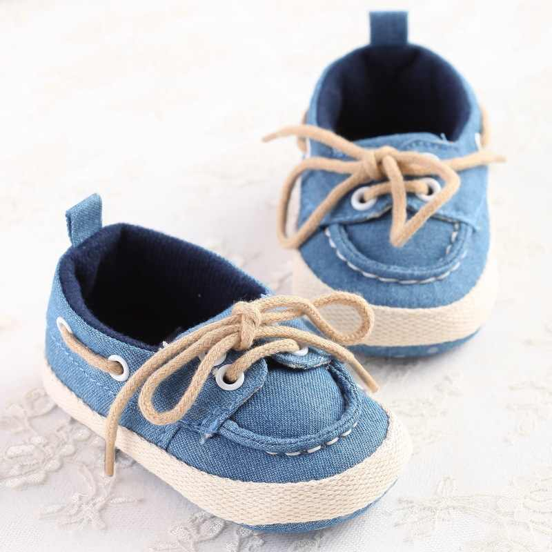 378263fea4eb9 ... Infant Baby Boys Girls Shoes Prewalkers Canvas Lace Up Loafers Newborn  Toddler Crib Bebe Soft Soled ...