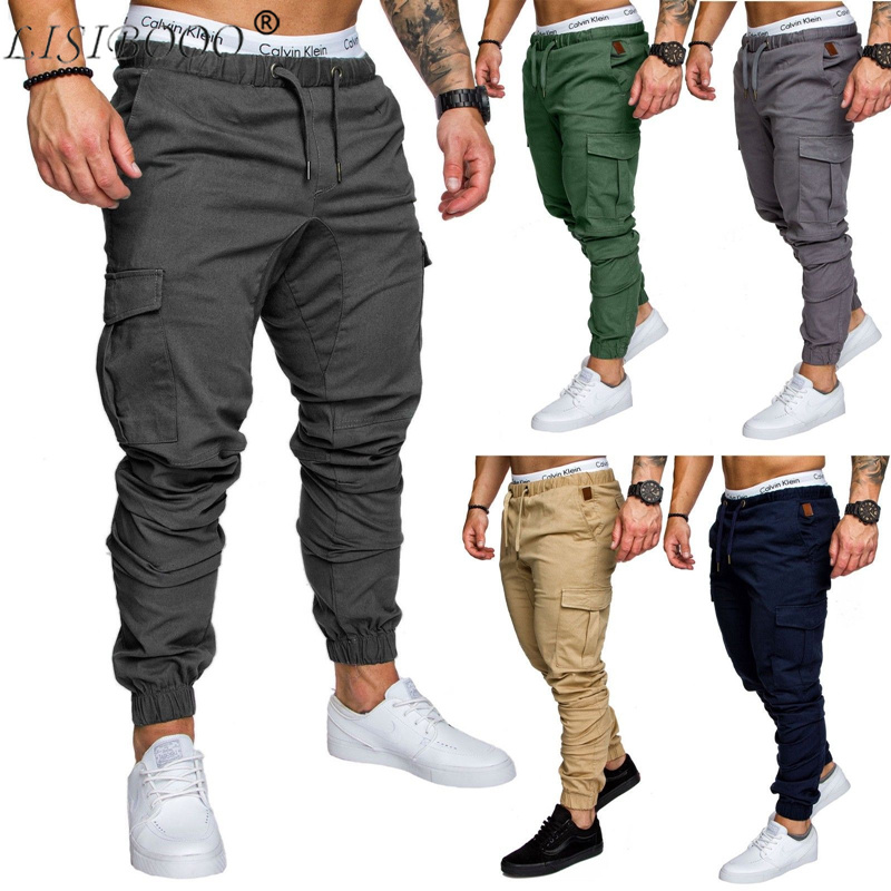 Mens Casual Trousers Multi-pocket Tooling Trousers Mens Casual Pants Cotton Feet Pants Men Pants Fitness Men