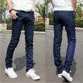 Calças de brim dos homens 2017 Nova Moda Lápis Calças Jeans Skinny Elástico Slim Fit Estiramento Pés Pequenos calças de Ganga Pretas Dos Homens Em Linha Reta Homme