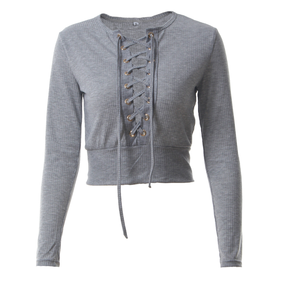 Nadafair Long Sleeve Laced Up Criss Cross Short T Shirt White Black Grey Khaki Casual Women Crop Top 4