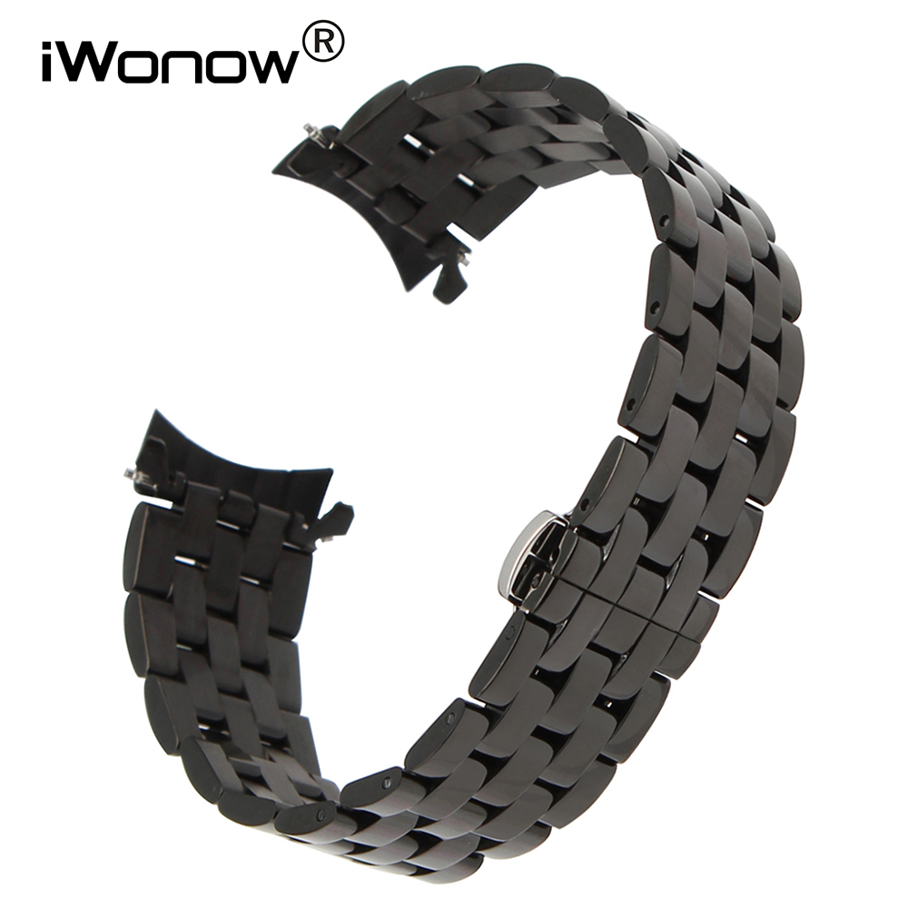 20mm Curved End Stainless Steel Watch <font><b>Band</b></font> for Gear S2 Samsung Classic R732 R735 <font><b>Moto</b></font> <font><b>360</b></font> 2 42mm Men Garmin Vivomove Wrist Strap image